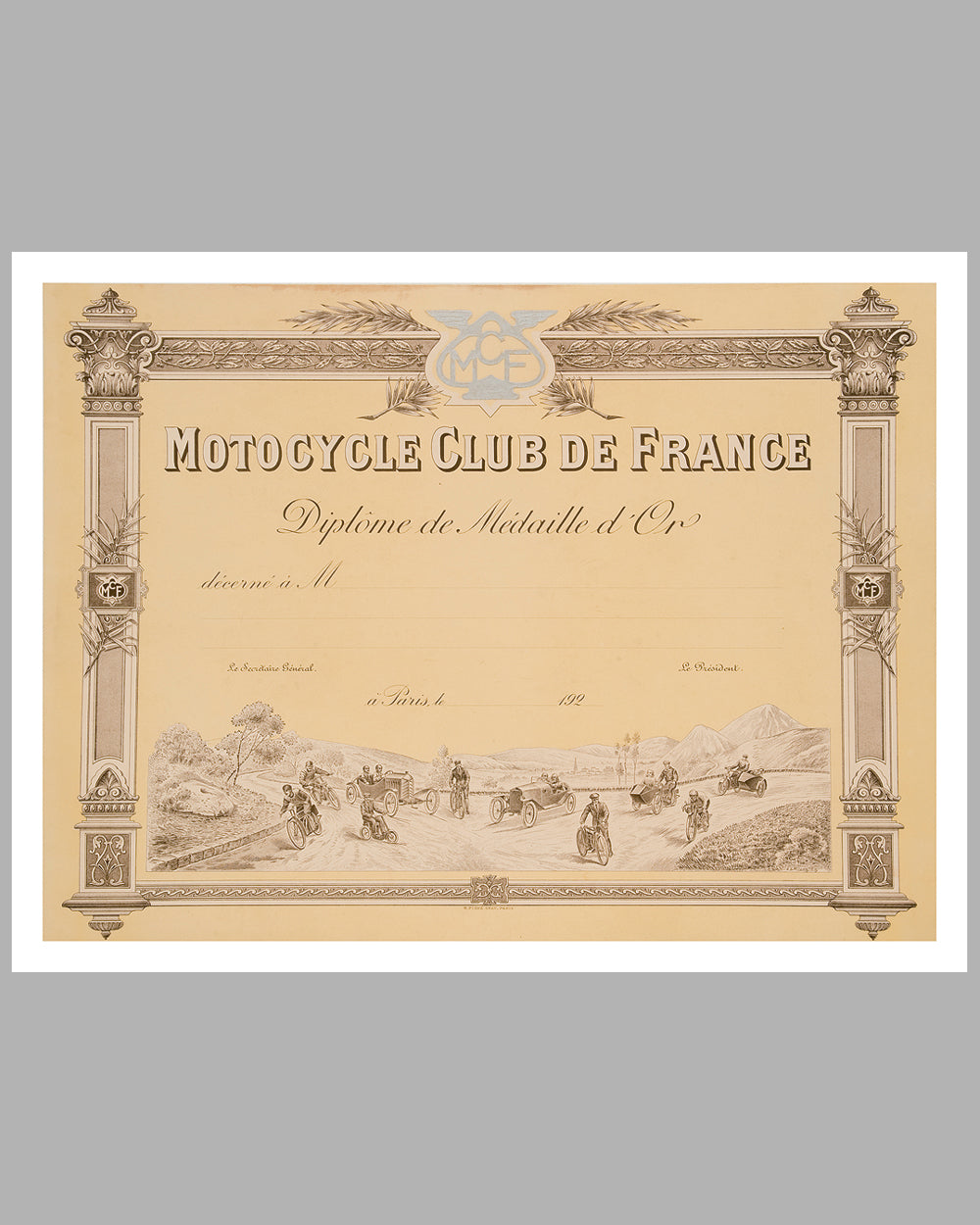 Motocycle Club de France Diplome original by Langlois