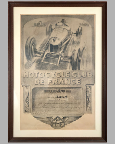 1930 Motorcycle Club de France diploma by Geo Ham