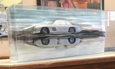 Mercedes 300 sculpture by Dennis Hoyt, 1991 autographed by Stirling Moss