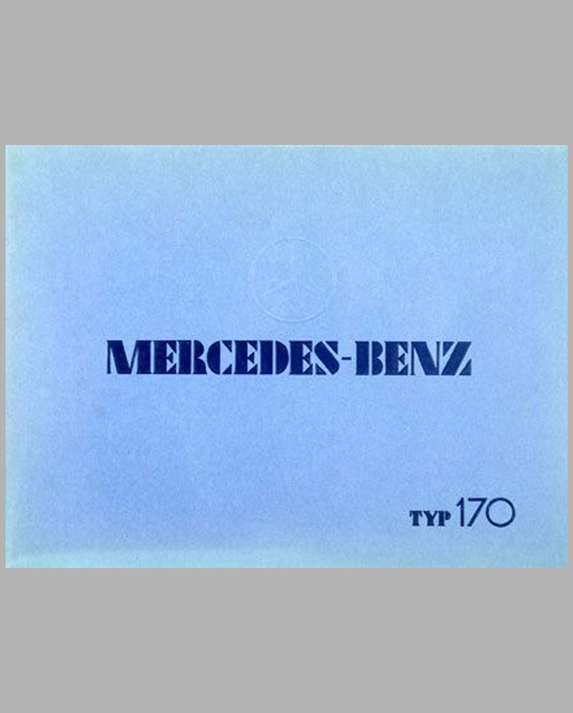 Mercedes-Benz Type 170 prestige color catalog factory reprint