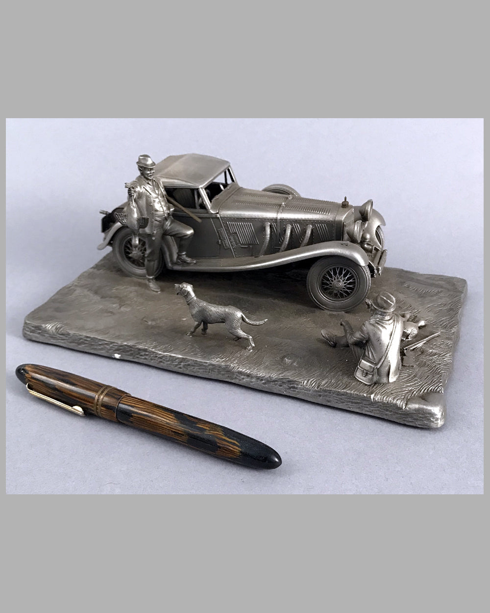 1929 Mercedes-Benz 500 SSK pewter sculpture by Raymond Meyers