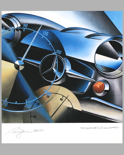 Mercedes Gullwing giclée by Alain Lévesque