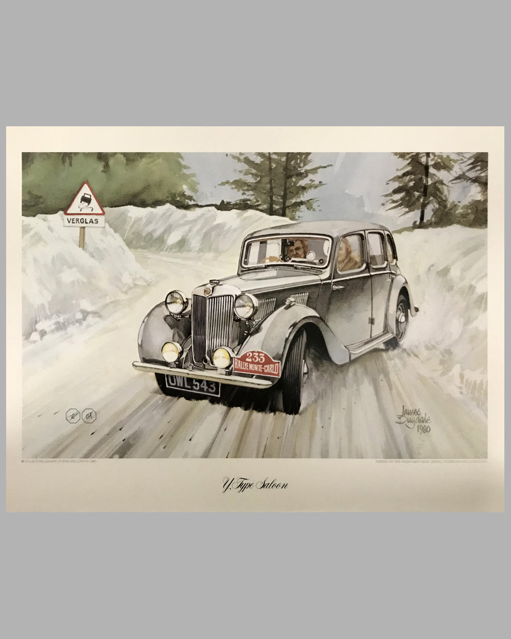 MG Y-Type Saloon print by James Dugdale (UK), 1980