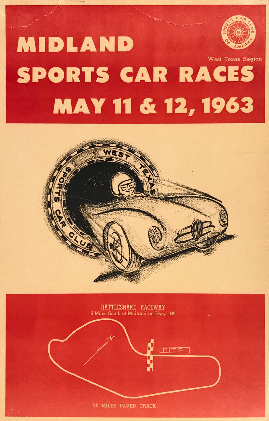Midland Sports Car Races 1963 poster at Jim Hall's Rattlesnake Raceway
