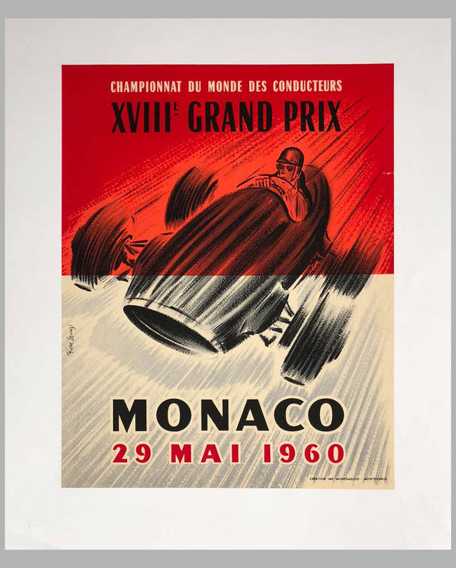 1960 G.P. of Monaco original advertising Poster