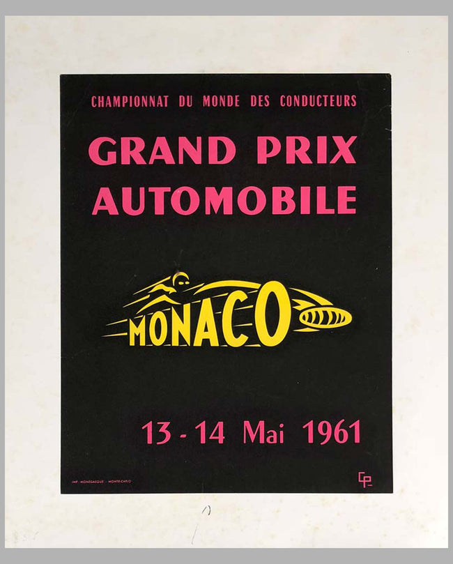 1961 G.P. of Monaco original advertising Poster