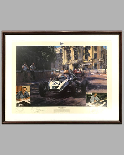 World Champions - Monaco 1959 - Jack Brabham - framed print by Nicholas Watts, autographed by Jack Brabham and John Cooper