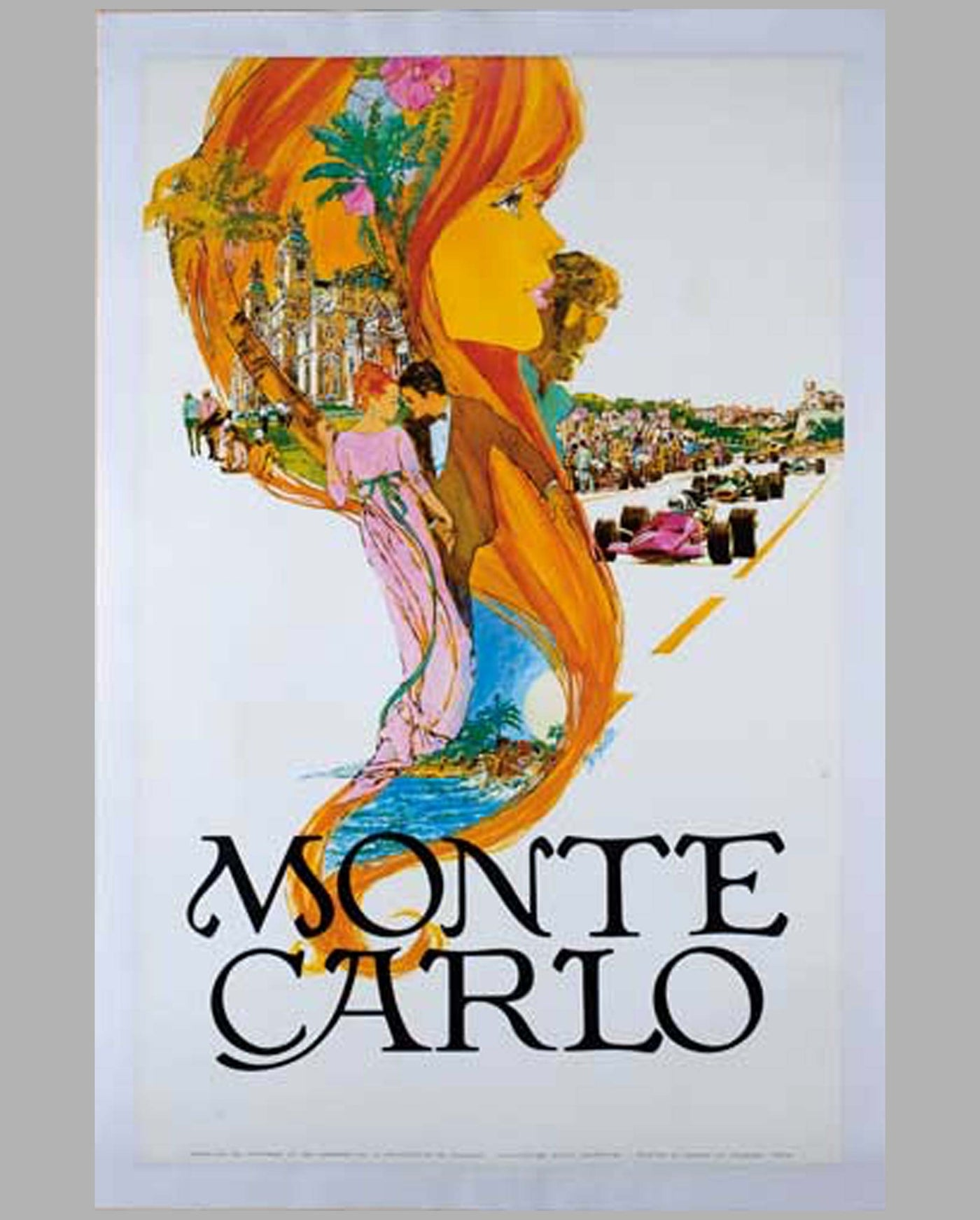 Monte Carlo original tourism poster by Steve Carpenter, late 1960's