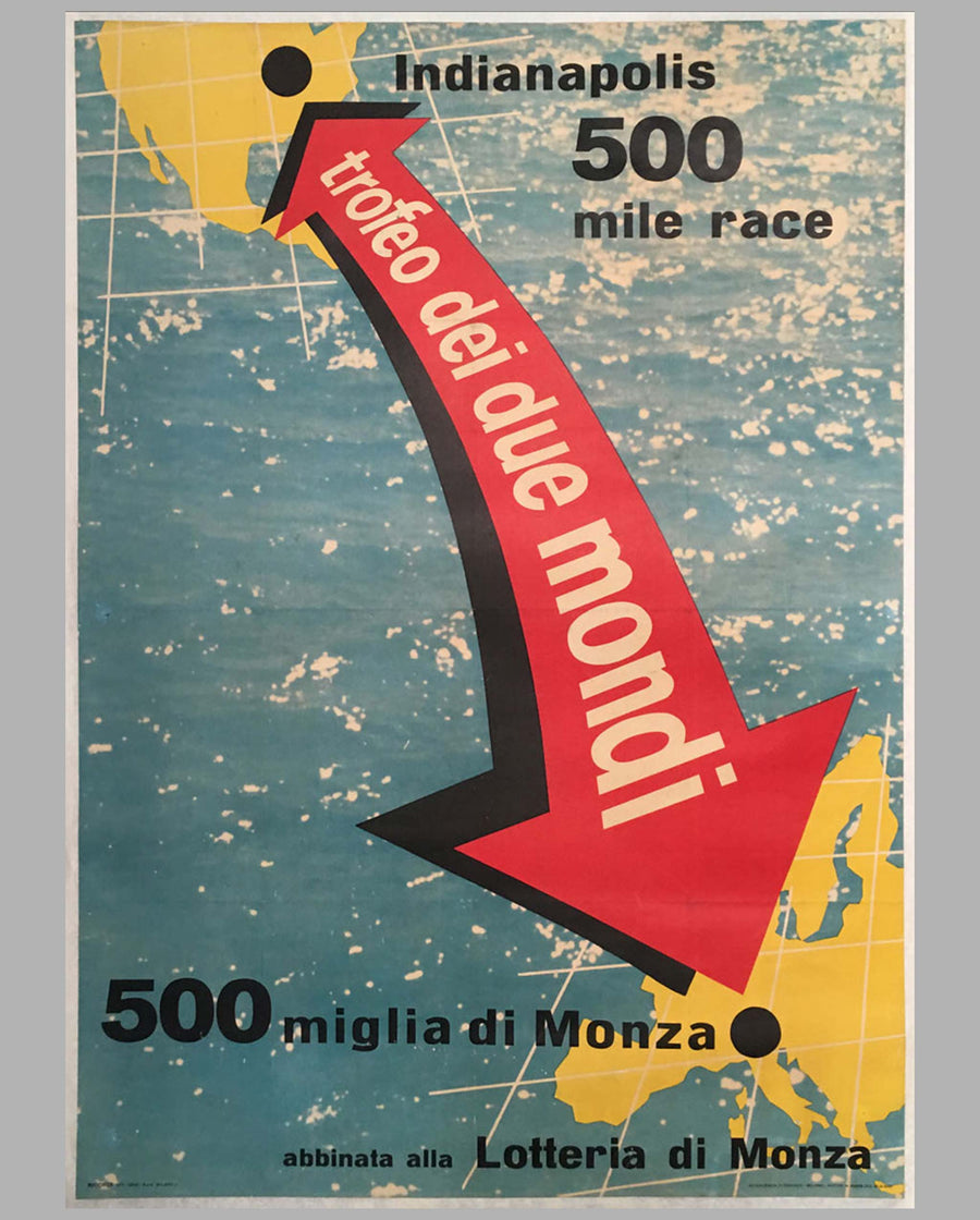 500 Miles of Monza original large poster 1957