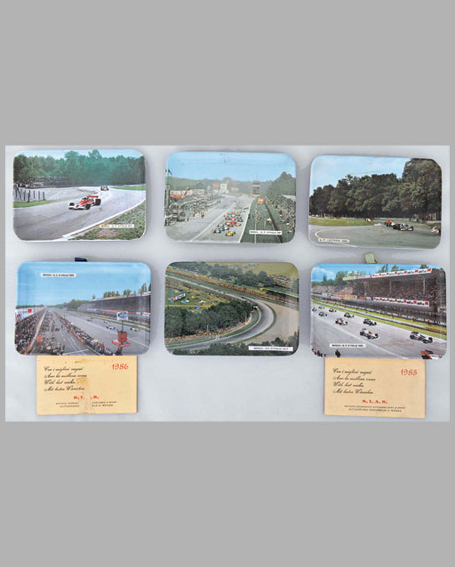 Grand Prix of Monza souvenir trays from 1971-85, lot of 6
