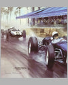 Moss Wins Monaco 1960 print by Michael Turner (UK), 1989, signed by artist & autographed by Innes Ireland 2