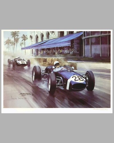 Moss Wins Monaco 1960 print by Michael Turner (UK), 1989, signed by artist & autographed by Innes Ireland