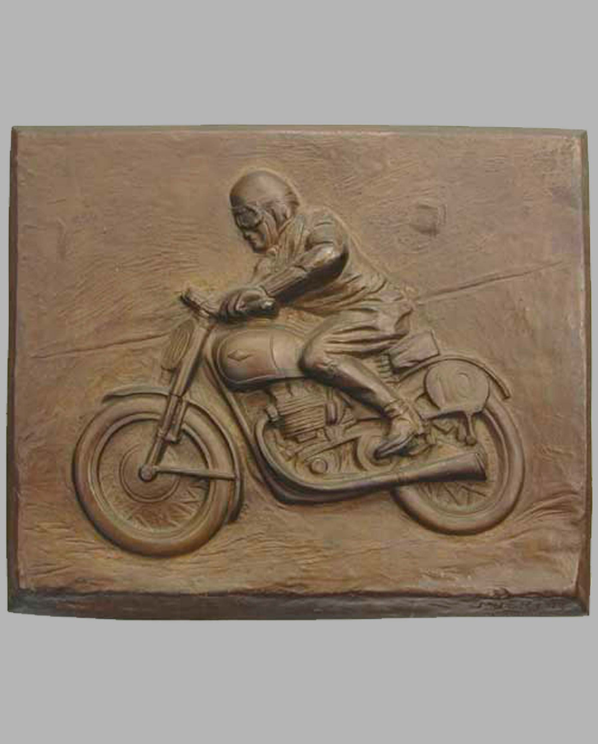 Motorcycle Racer bronze plaque by M. Bertin