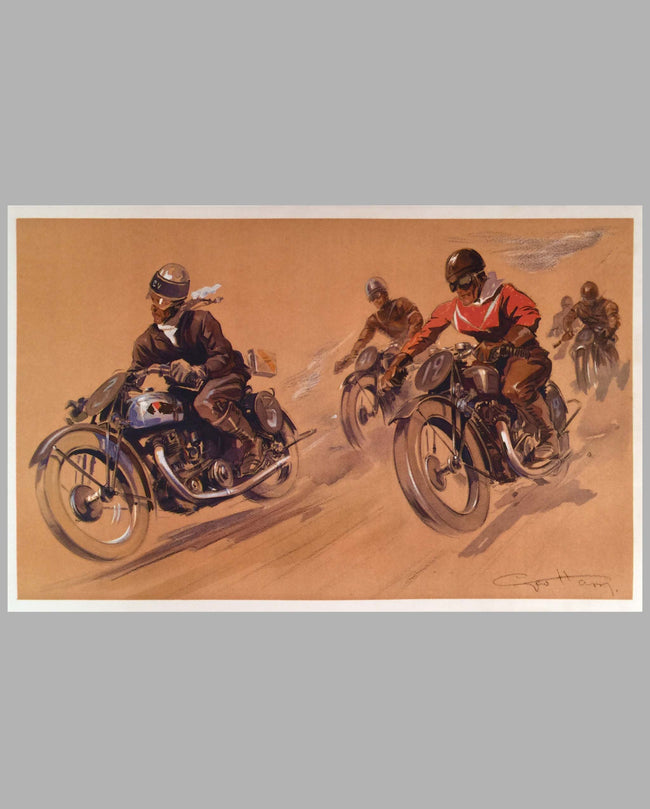 Motorcycle Racers, period print by Geo Ham