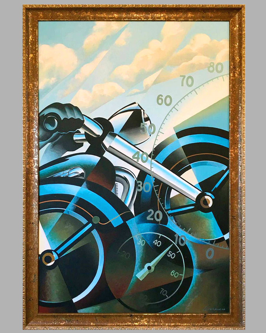 Motorcycles large painting by Alain Lévesque