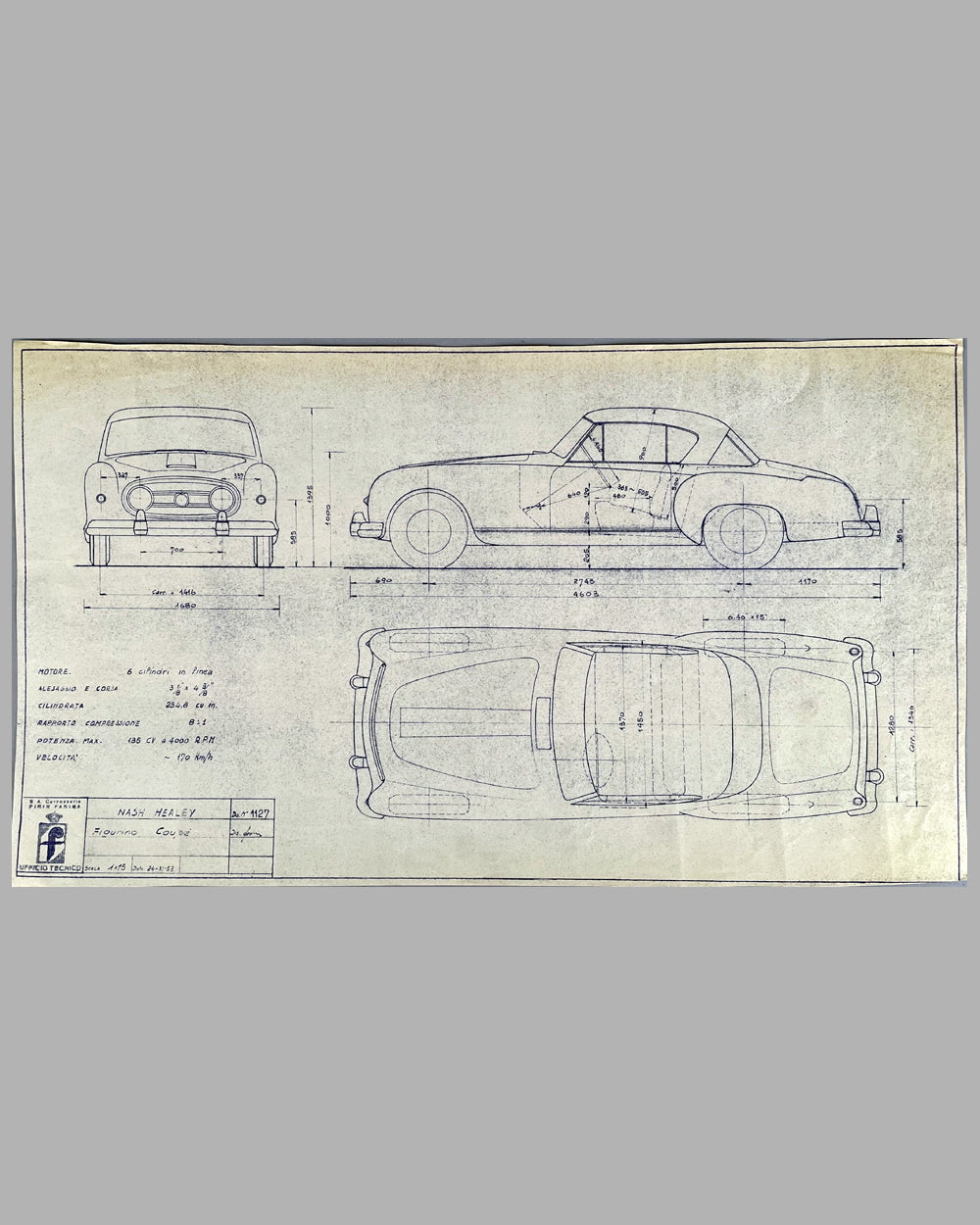 Nash Healy original working blueprint by the Pininfarina Studio