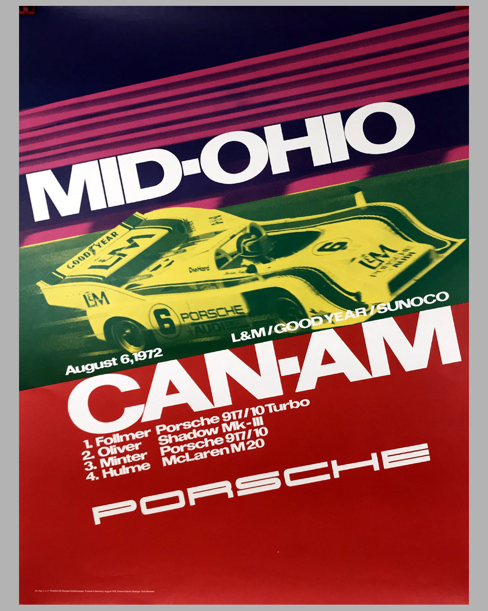 1972 Mid Ohio Can Am Porsche Victory Poster