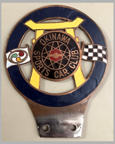 Okinawa Sports Car Club bar or license plate badge
