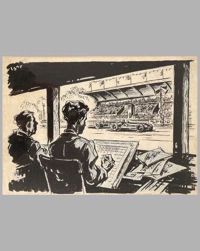 """On the Pit Wall"" original illustration by George Lane  2"