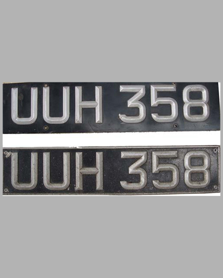 Pair of British License Plates UUH 358