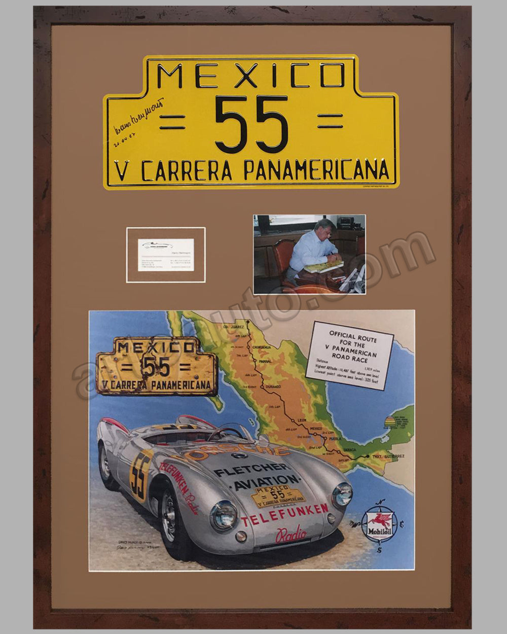 1954 Carrera Panamericana Rally Plaque autographed by Hans Hermann