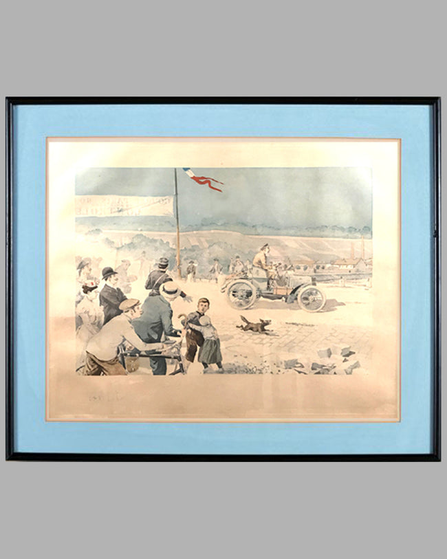 Paris to Rouen race, 1900, period print by Eugene Courboin, France