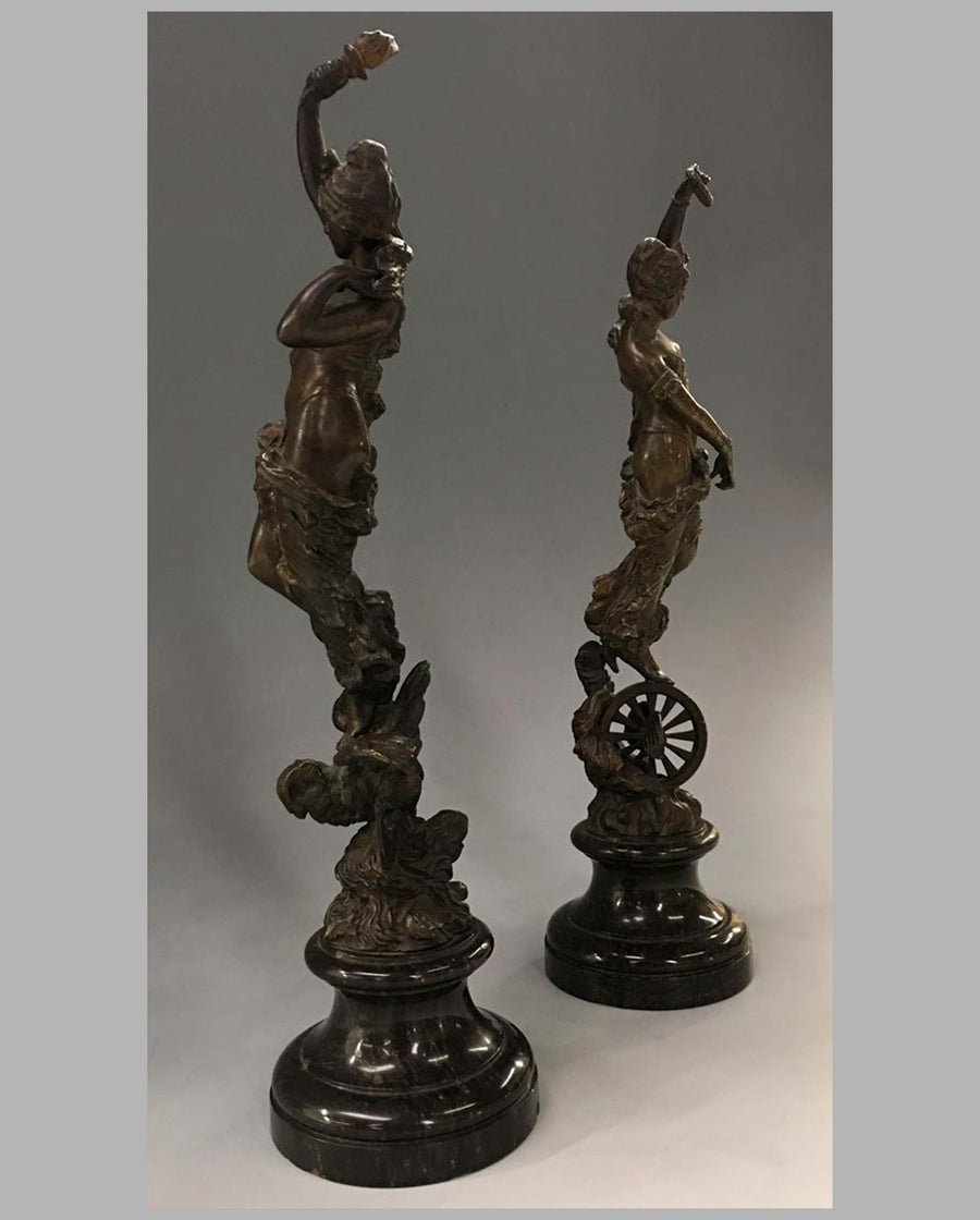 'Industry & Wisdom' bronze sculptures by Paul Aichele, 1891