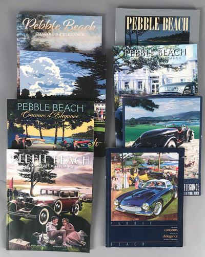 Eight Pebble Beach Concours d'Elegance programs from 1993 to 2019
