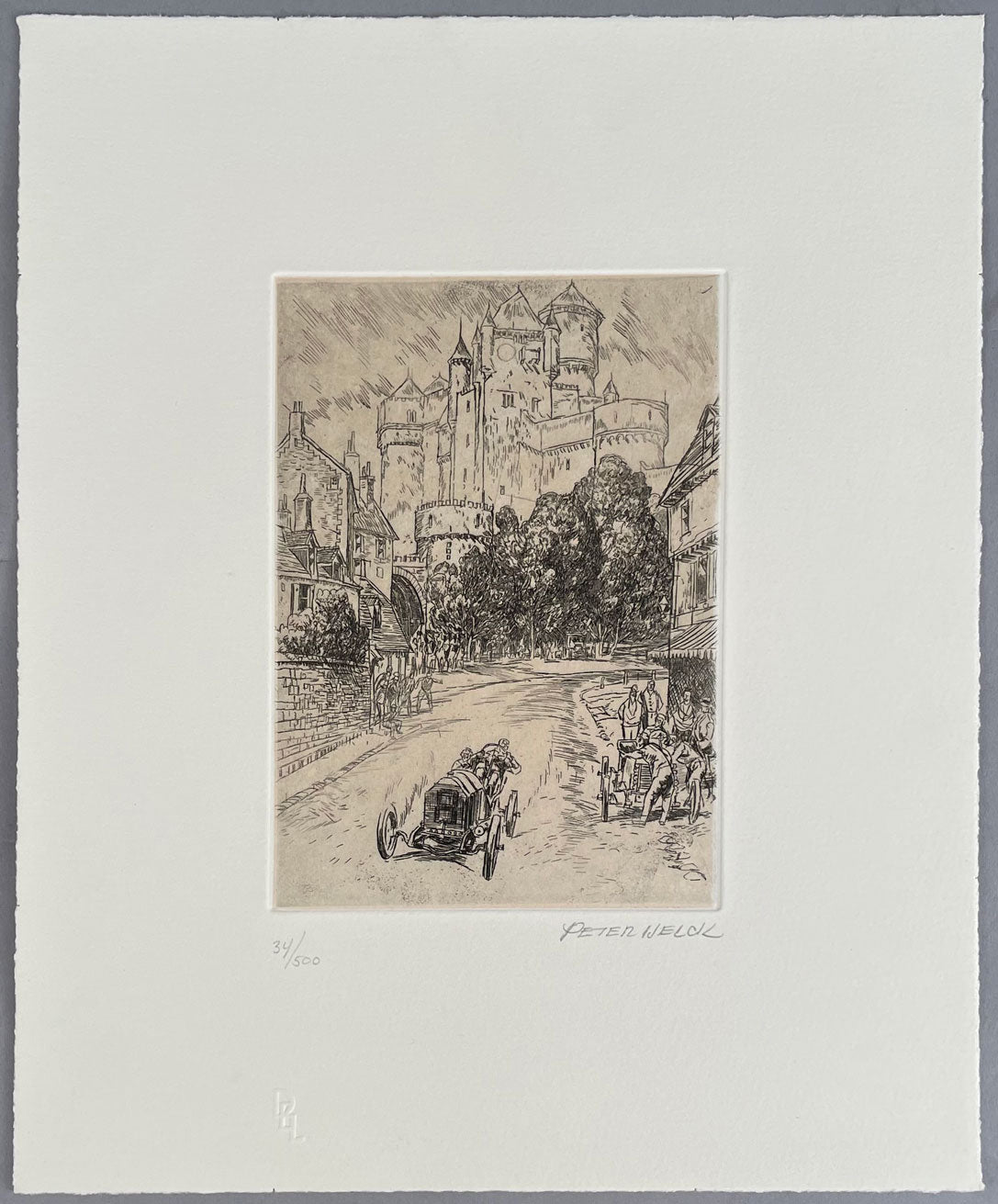 Passing through a Medieval French Town etching by Peter Helck