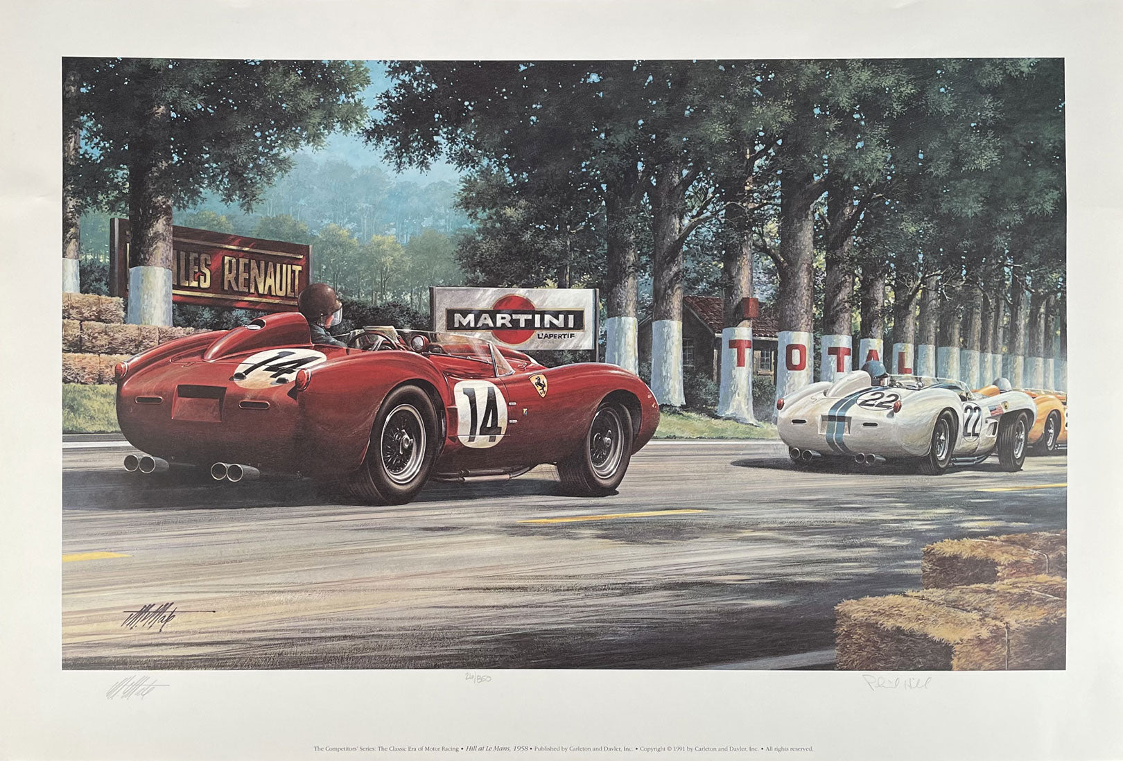 Phil Hill at Le Mans 1958 print by Michael Mate, 1991, autographed