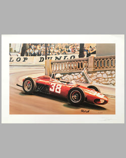 Phil Hill's Ferrari print at the Grand Prix of Monaco by Denis Vipre, Autographed by Phil Hill