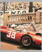 Phil Hill's Ferrari print at the Grand Prix of Monaco by Denis Vipre, Autographed by Phil Hill 3