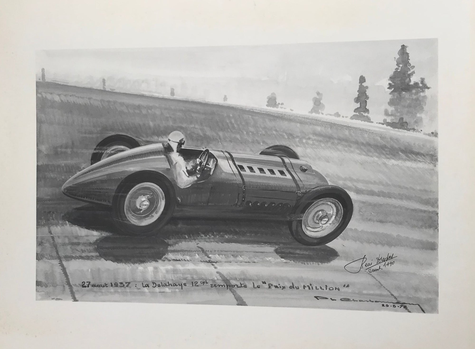 The 12 cylinder Delahaye of Rene Dreyfus, autographed by Rene' Dreyfus, Print by Charbonneaux