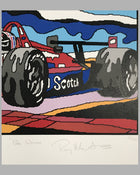 Pole Winner serigraph by R. Masters, autographed by Luyendyk 2