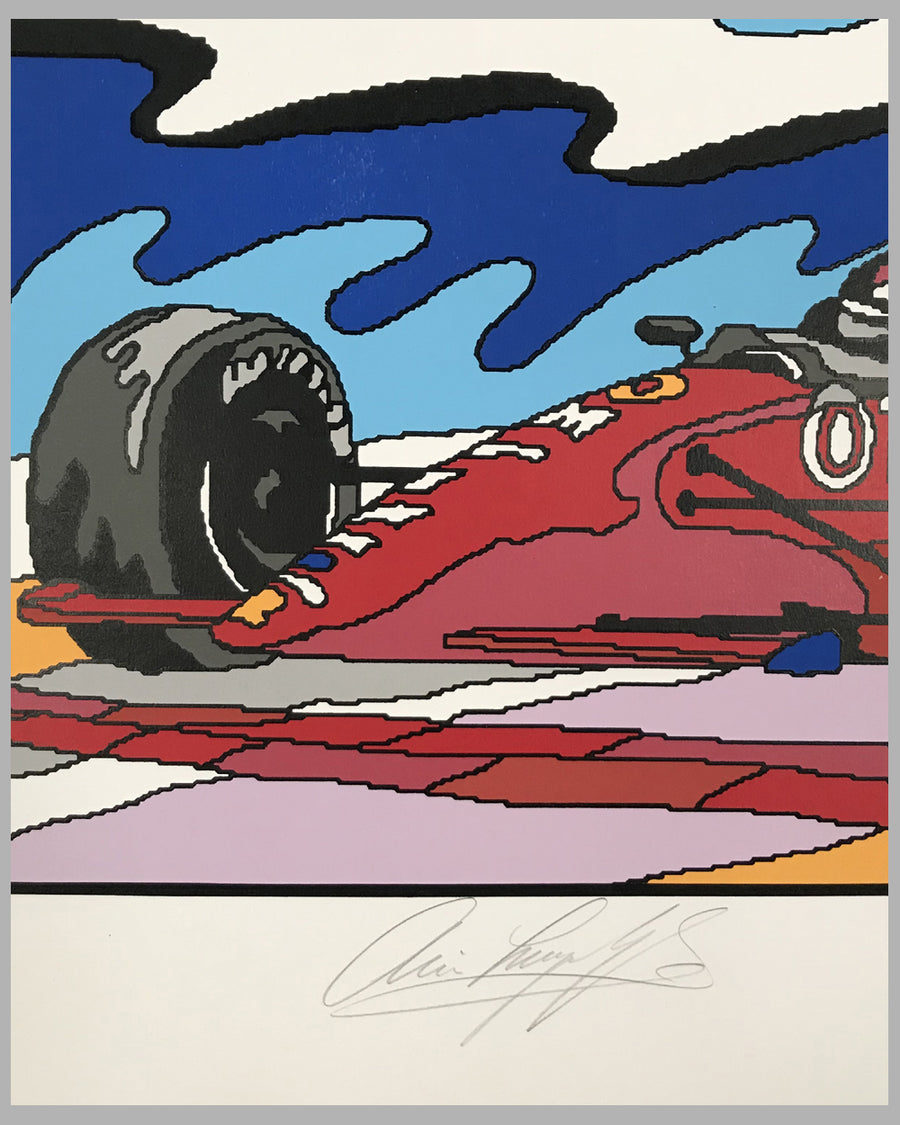 Pole Winner serigraph by R. Masters, autographed by Luyendyk 3
