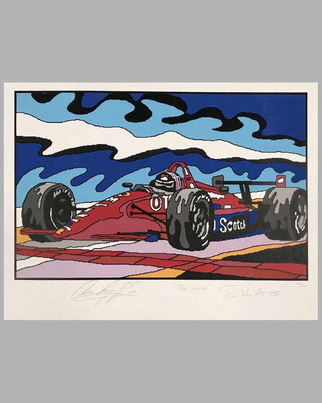 Pole Winner serigraph by R. Masters, autographed by Luyendyk