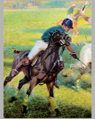 Polo Match painting, oil on canvas by Alfredo De la Maria 2