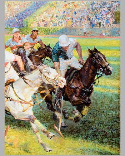 Polo Match painting, oil on canvas by Alfredo De la Maria 3