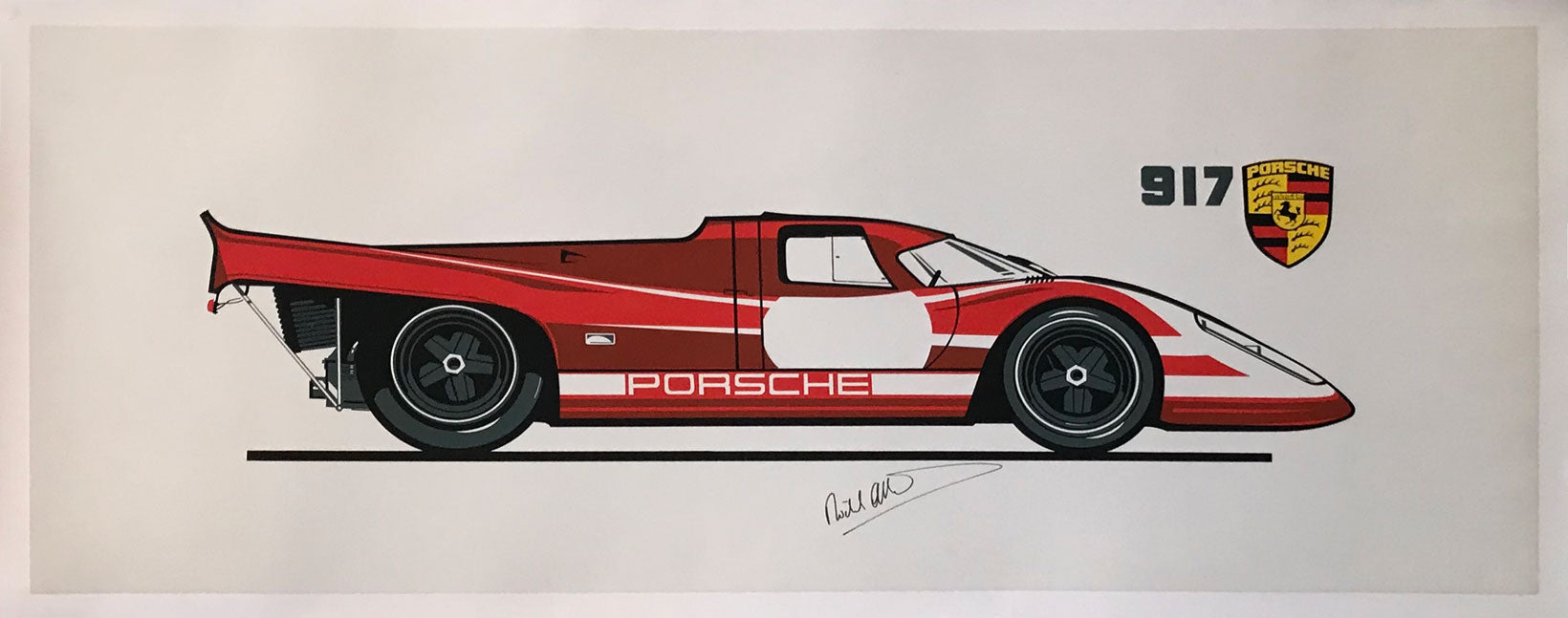 Porsche 917K print of the 1970 24 Hours of Le Mans winner, autographed - $450.00