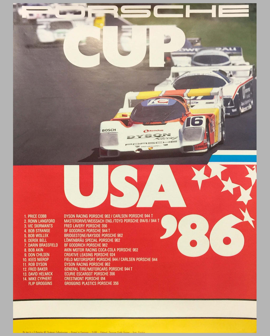 1986 Porsche Cup USA Victory Poster