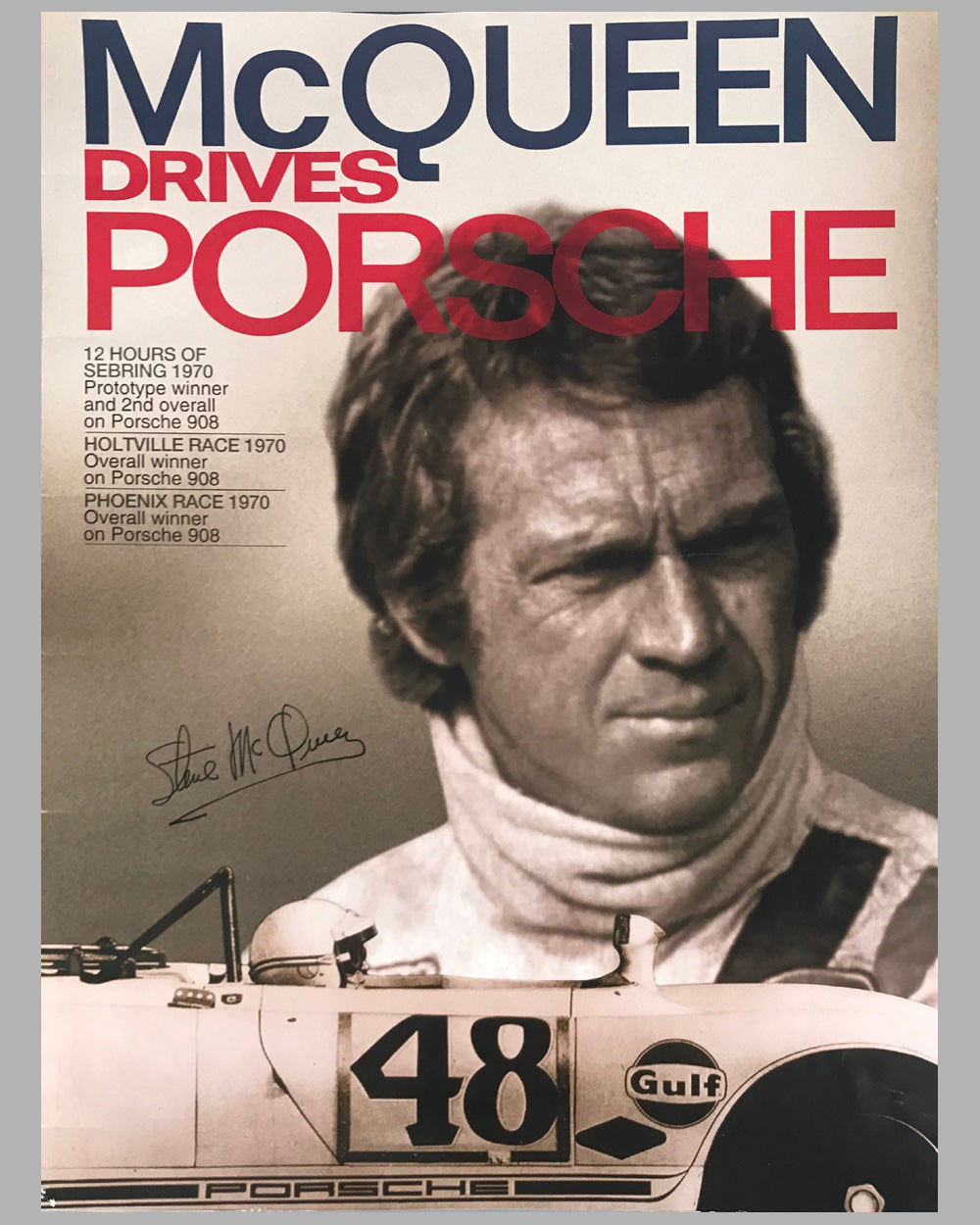 Steve McQueen drives Porsche reproduction poster