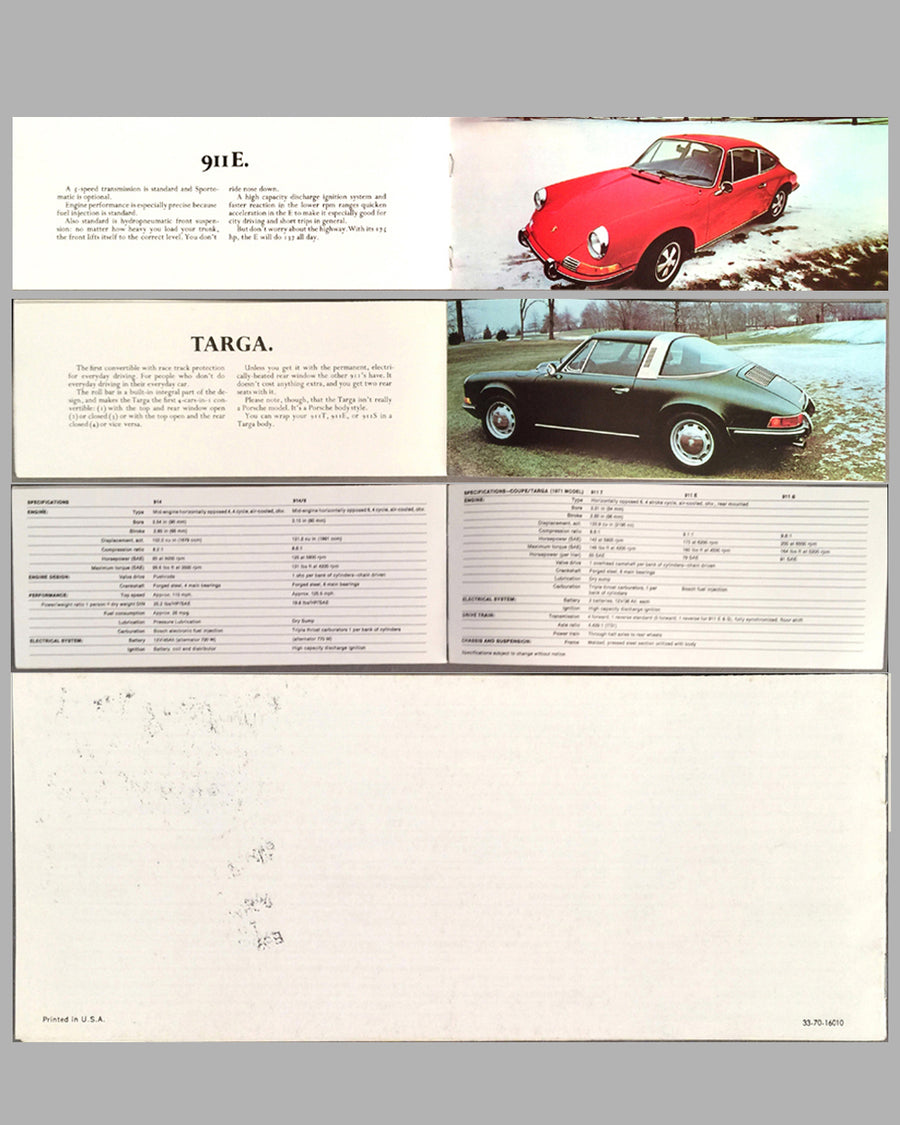 1970 Porsche full line factory sales brochure back