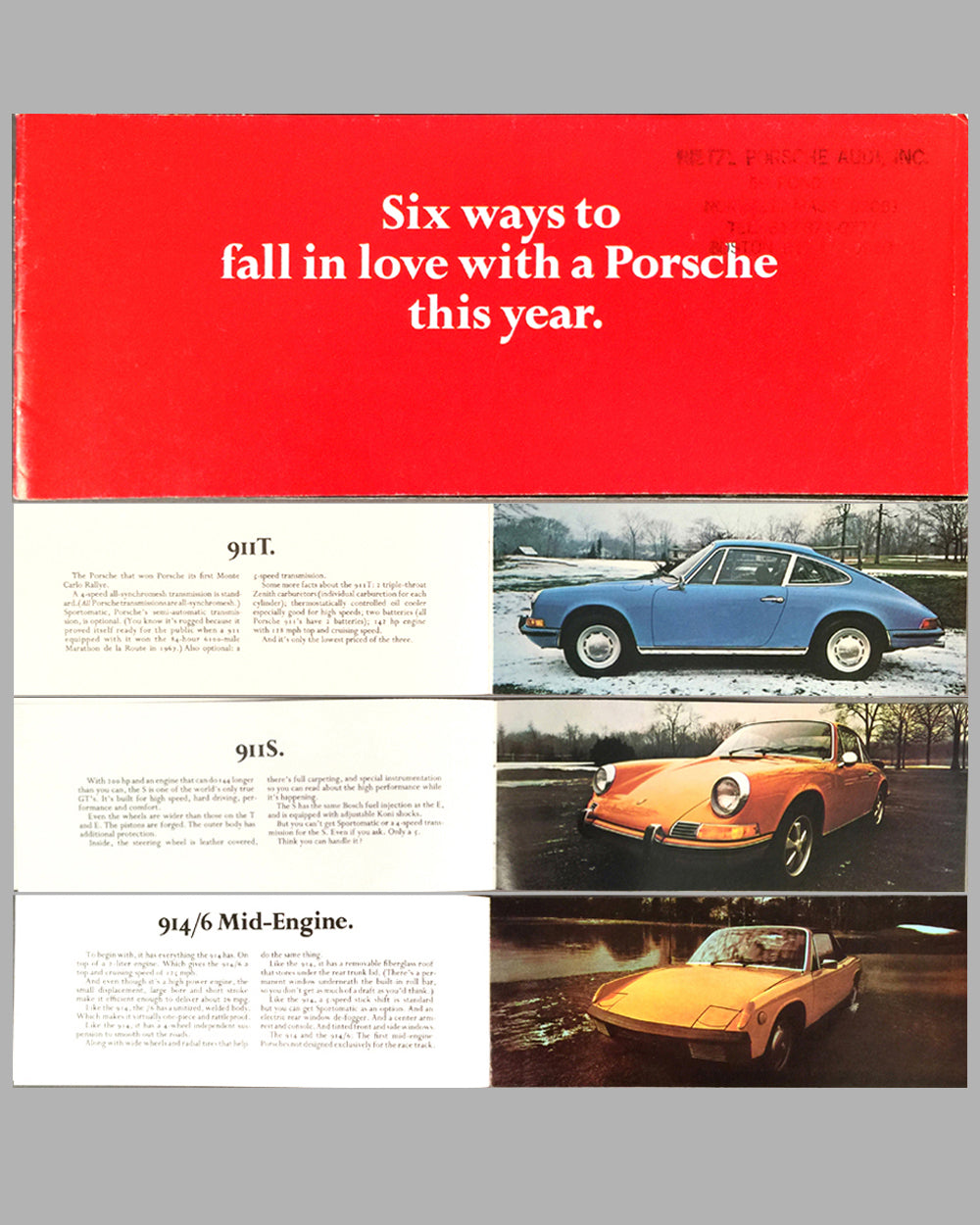 1970 Porsche full line factory sales brochure