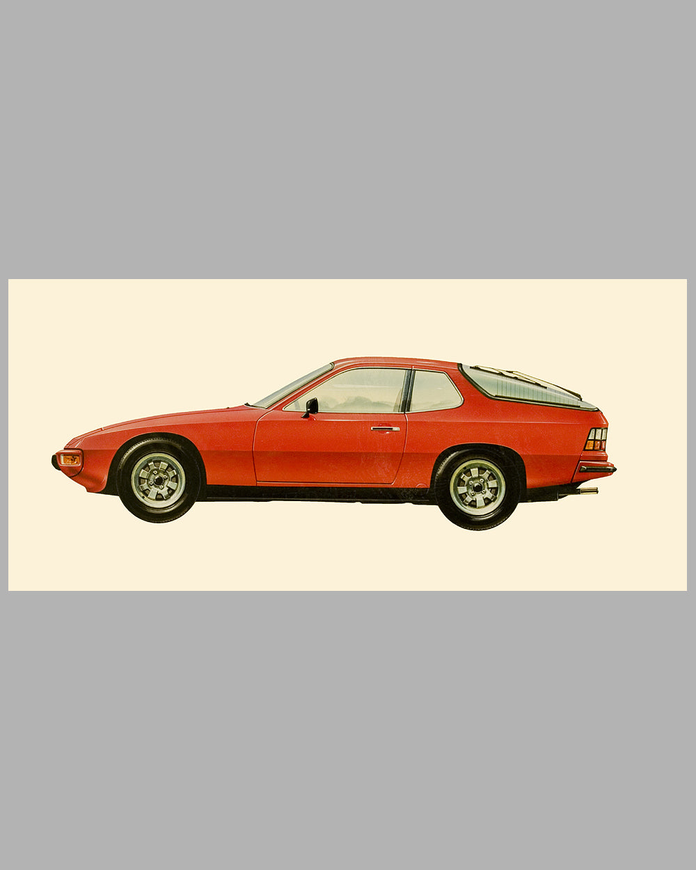 1976 Porsche 924 Coupe painting by Ken Rush, USA, 1984, gouache on board