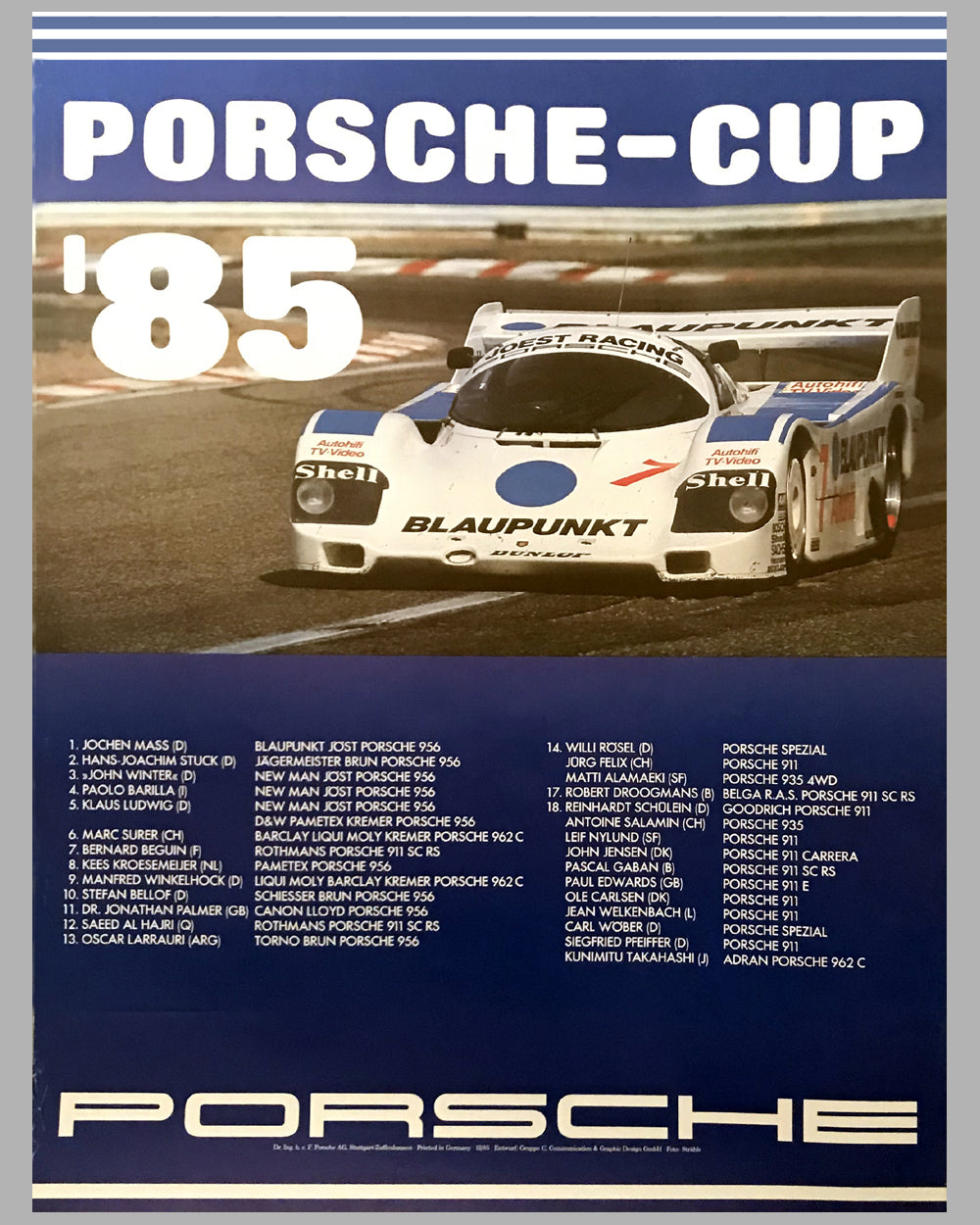 1985 Porsche Cup Champions Victory Poster