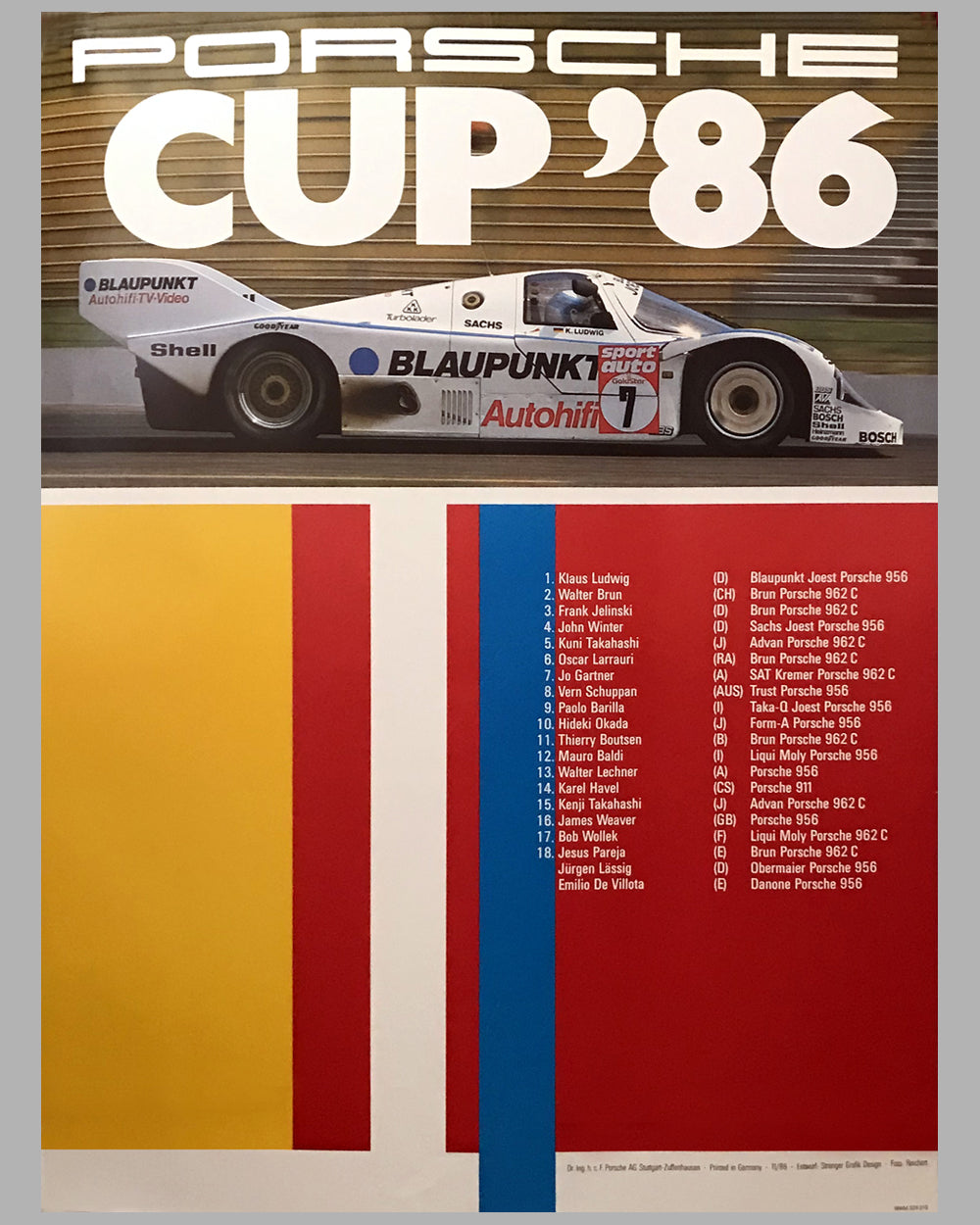 1986 Porsche Cup Victory Poster