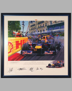 Raging Bulls giclee by Nicholas Watts, autographed by 2 drivers & owner