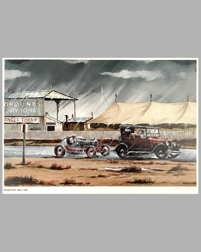 Rained Out signed print by John W. Burgess, USA, 1980's