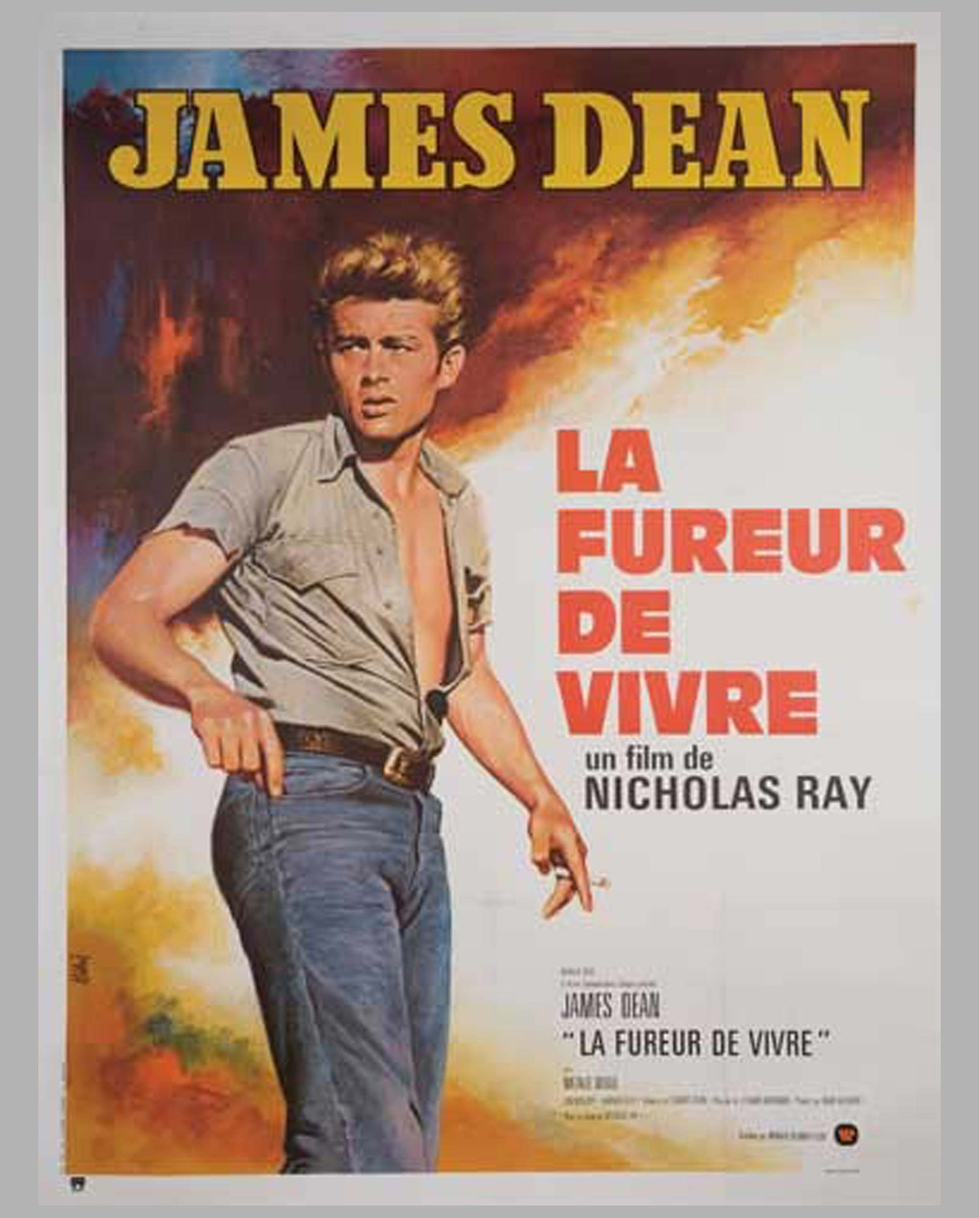 "1955 original movie poster, James Dean in ""La Fureur de Vivre"" (Rebel Without a Cause)"