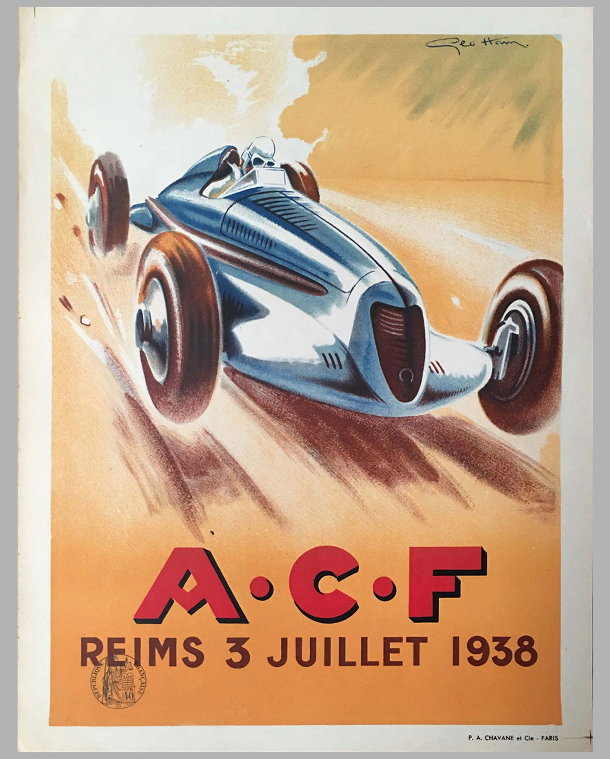 Grand Prix of France at Reims, 1938 multicolor official event poster by Geo Ham